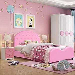 Costzon Kids Bed, Upholstered Platform, Wood Princess Bedframe, Sleeping Bedroom Furniture, Crystal Embedded Bed for Girls, Pink