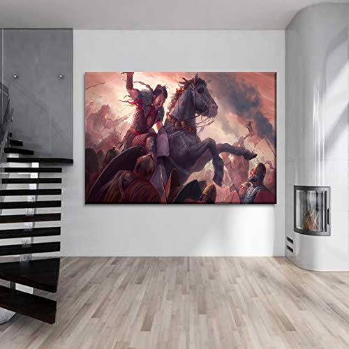 1000 Pieces Round Jigsaw Puzzle, War horse warrior pictures Puzzle Game Challenge Intellectual Games Kids Adults Decompression Toys Home Decoration 50x75cm
