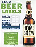 Neato Blank Beer Bottle Labels - 10 Sheets - 40 Total Labels - Water Resistant, Vinyl, Tear Free Labels for Inkjet Printers - Strong...