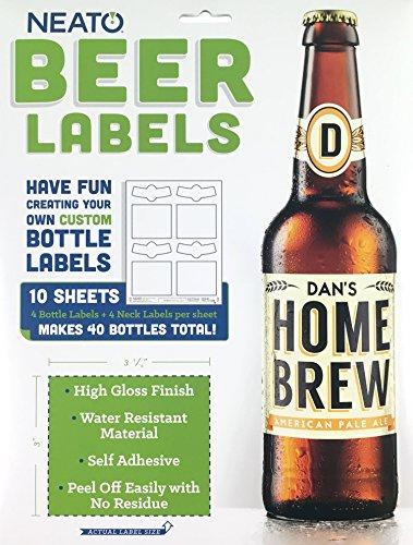Neato Custom Beer Bottle Labels - Waterproof, Printable, Super Glossy, Vinyl, Tear Free Labels for Inkjet & Laser Printers, 10 Sheets - 40 Total Stickers - Includes Online Design Beer Label Software
