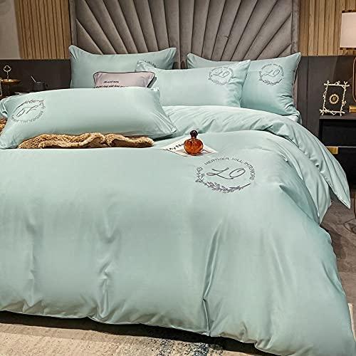 Funda De EdredóN 90,Summer Cool Silid Color Seda Bordado de seda Ropa de cama, conjuntos de colcha con refrigeración de seda, hojas extra grandes, cutáneas, absorbente, absorbente antiestático, cintu