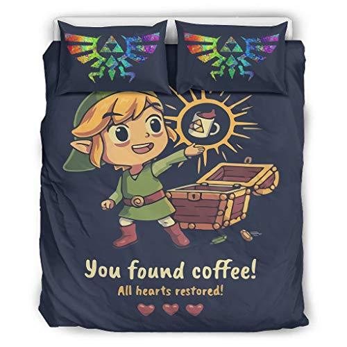 XHJQ88 Zelda Comforter Beddengoed Set Retro 3-delig dekbedovertrek/kussensloop - U vond Koffie Zachte Onderhoudsvriendelijke Bohemia Bed Sheet Set