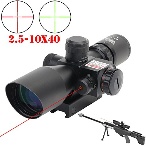 GOHIKING 2.5-10x40 Hunting Rifle Scope Dual Illuminated Mil-dot with Red Laser Combo Rifle Hangers
