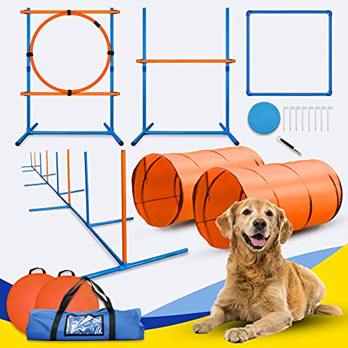 YON.SOU. Dog Agility Equipment Set Indoor or Outdoor with 2 Tunnels Weave Poles Jump and Hoop Pause Box Frisbee Whistle Carrying Bag for Agility Training Equipment for Dog Obstacle Course Backyard