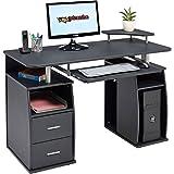 Piranha Großer Computer Schreibtisch mit 2 Schubladen und 4 Regalfächern in Schwarz PC 5g