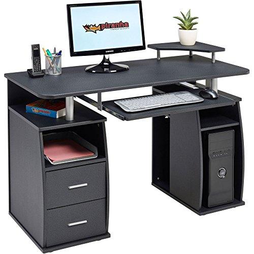 PIRANHA TRADING PC5g Scrivania per computer grande nera con due cassetti e quattro ripiani.