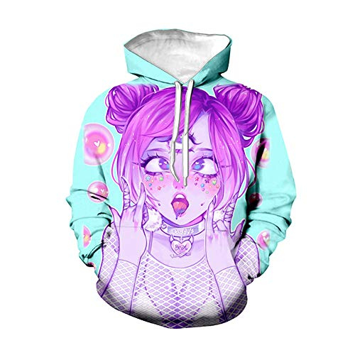 CUIACOIR Novelty Unisex 3D Print Hoodie Ahegao Funny Pullover Pockets Hoodie Sweatshirts (Multicolored, XL)