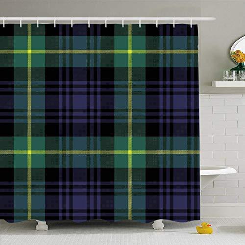 N/A douchegordijn 72x72 inch Keltisch groen Gordon Tartan geruite patroon Abstract blauw Schotse Ierse Check zwart Cashere ontwerp waterdichte polyester stof badkamer gordijnen Set met haken