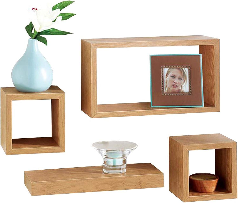 Posh Porschey Set of 4 Floating Wall Storage Display Book Cubes Shelves Stand Shelf Oak