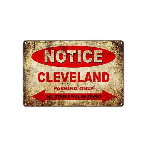 Cleveland Motorfietsen Fietsen Alleen Alle Anderen Worden Towed Parking Teken Vintage Retro Metal Decor Art Shop Man Cave Bar Aluminium Teken Plaat Antiek 8