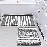 Bathroom Rugs Set 2 Piece, Extra Soft and Absorbent Fluffy Striped Chenille Bath Mat Rug Set, Non Slip Bathroom Floor Mat, Machine Washable (20' x 32' Plus 16' x 24', Gray)