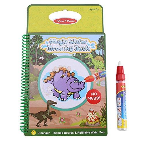 Acqua Libro da colorare Acqua magica Libro di disegno Riutilizzabile Quadro dipinto con penna Giocattoli educativi di apprendimento del giocattolo per il bambino del bambino(modello di dinosauro)