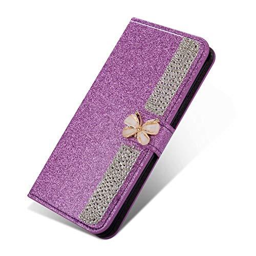 Nadoli Leder Hülle für Huawei P Smart 2021,Glitzer Diamant 3D Handyhülle im Brieftasche Schmetterling Kette Flip Schutzhülle Etui für Huawei P Smart 2021,Lila