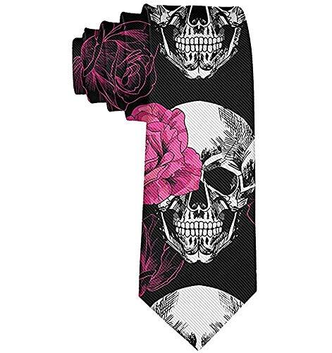 Cravate cravate tête de mort des roses roses hommes cravate cravate cravates cravate élégante