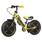 Small Rider Sports EVA, Bicicleta de Equilibrio de 12 Pulgadas, Ultraligera, sin Pedales, sillín y Manillar Regulables en Altura, Frenos x2, para niños y niñas a Partir de 3 años (Amarillo)