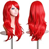 28' Women's Hair Wig New Fashion Woman's Long Big Wavy Hair Heat Resistant Wig for Cosplay Party Costume (Red)