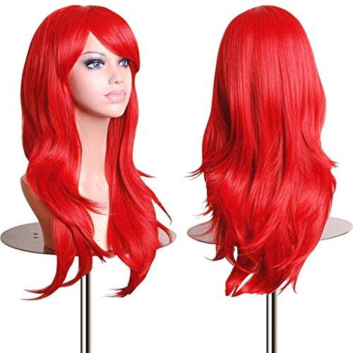 28' Long Heat Resistant Big Wavy Dark Red Cosplay Wig