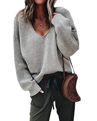Lantch Damen Pullover Sweater V-Ausschnitt Sweatshirt Pulli Langarm Casual Oberteile Jumper(grau,m)