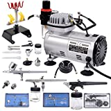 Comie 3 Airbrush & Compressor Kit Dual-Action Spray Air Brush Set Tattoo Nail Art Ink Kit Multi-purpose Professional Airbrushing System