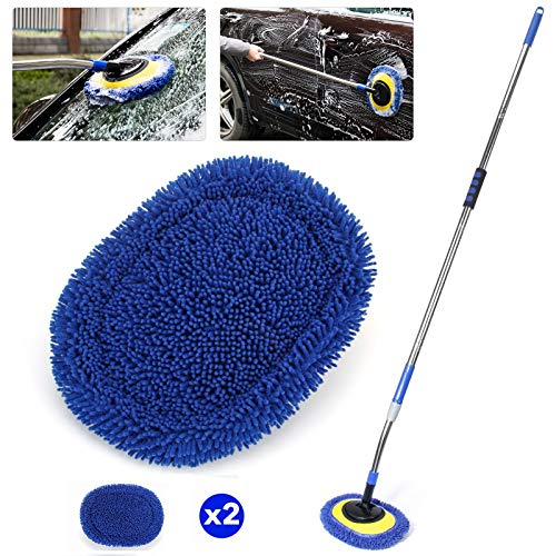 66'' Car Wash Brush with Long Handle, Chenille Microfiber Soft Car Wash Mop Cleaning Tool Kit with 15° Labor-saving Elbow Extension Stainless Steel Pole & Replacement Head for Clean RV SUV Truck House