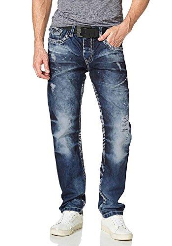 Cipo & Baxx Herren Jeans Jeanshose Hose Destroyed Farbflecken (W33/L34, Blau)