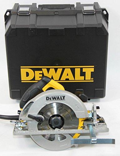 DeWalt DWE576K handcirkelzaag (1,350 watt, 61 mm zaagdiepte, zaagblad Ø 190/30 mm, incl. beschermkap-opzetstuk voor stofafzuiging, parallelaanslag, montagegereedschap en koffer)