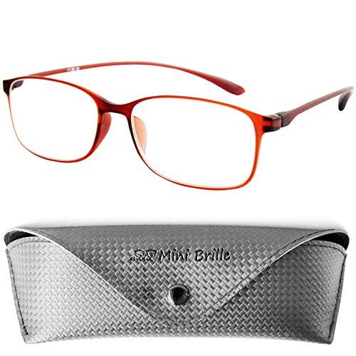 Leesbril Flexibele met Ovale Lenzen, Licht en Flexibel TR90 montuur (Bruin), inclusief GRATIS Koker, Leeshulp Vrouwen en Mannen +2.5 Dioptrie