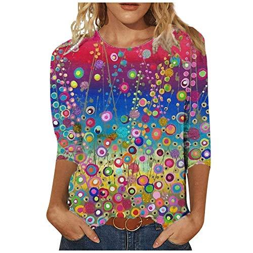 Dasongff Damen Rundhals Langarmshirts Pullover Bunter Motiv Tie-Dye Bedruckte Sweatshirts Teenager Mädchen Oberteile Tops Vintage Sportswear Pulli Shirts Bluse Casual Kontrast Longshirt
