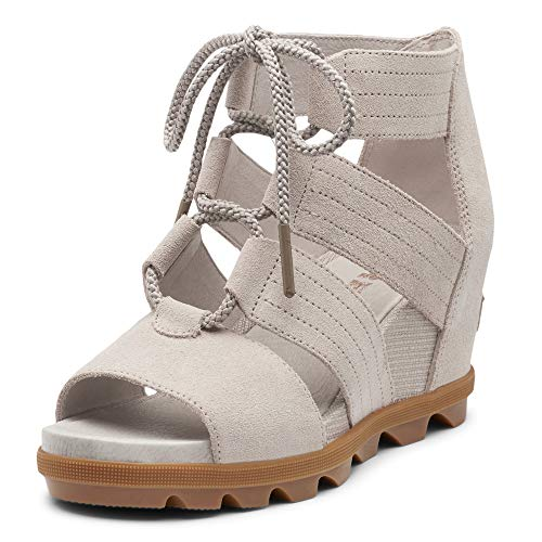 Sorel - Women's Joanie II Lace, Leather or Suede Sandal with Wedge Heel, Soft Taupe, 7 M US