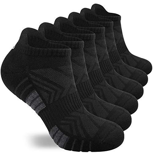 coskefy Sneaker Socken Herren Damen 6 Paar rutschfeste Gepolsterte Sportsocken Atmungsaktive Baumwollsocken Halbsocken Unisex Schwarz Weiß Laufsocken
