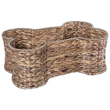Bone Dry DII Small Hyacinth Bone Shape Storage Basket, 18x11x7.5, Pet Organizer Bin for Home Décor, Pet Toy, Blankets, Leashes and Food