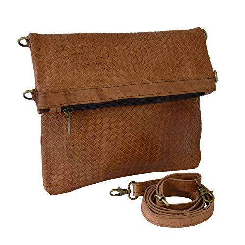 """Leder-Tasche """"Dafira"""" 33x26cm in Hellbraun • marokkanische Umhängetasche in Flecht-Optik • elegant & klassisch • 100% Handarbeit aus Rindsleder • Verstellbarer Schultergurt + 3 Fächer • Clutch"""