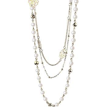 Femmes Charm Perles de Cristal Pendentif Collier de Luxe Collier Long Pull Cha?ne Cadeau de No?l Taille Unique Gemini/_mall Silver