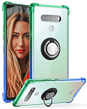 DAUPIN for LG Stylo 6 Case Clear with 360 Rotation Metal Ring Holder Stand Support Magnetic Car Phone Mount Soft TPU Bumper PC Hard Back Protective Phone Case LG Stylo 6 for Women Men  Green Blue