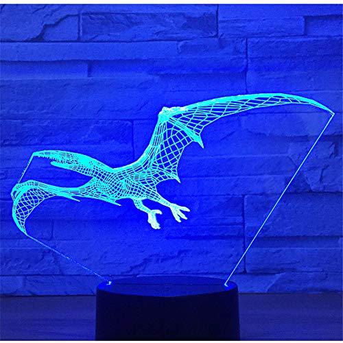 Lampe Illusion lumière de nuit 3D, ptérosaure de dinosaure venir avec 7 couleurs de lumière pour la maison Decorati, lampe visuelleoptique
