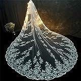 2T Velos de novia Blanco Largo Velo de la catedral Hermosa Lentejuelas brillantes Borde de apliques de encaje Accesorios de boda Tul suave para mujeres (138 pulgadas)