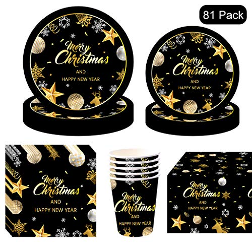 81PCS Christmas Disposable Tableware, Partybloom Christmas Party Supplies with Black and Gold Merry Christamas Plates Cups Napkins More for Christmas Themed Party Decoration