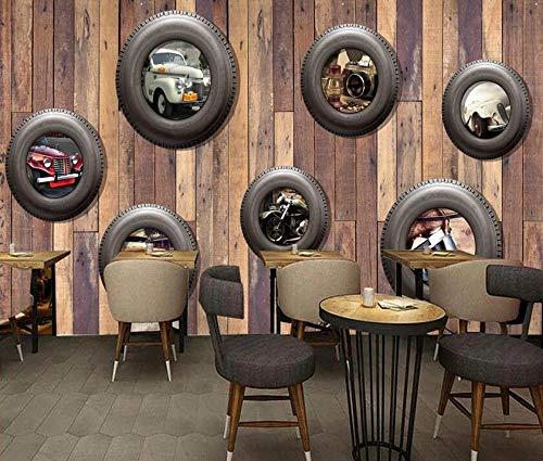 Neumáticos de coche nostálgicos pared de fondo de TV de coche clásico-350 * 245cm