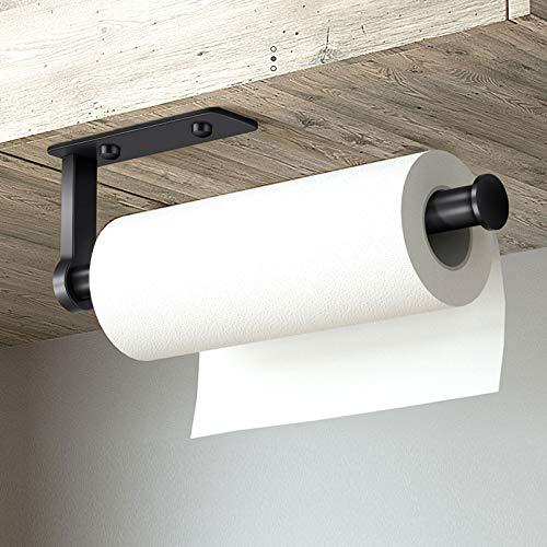 Küchenrollenhalter ohne Bohren, Küchenpapierhalter Wandmontage Küchenrollenspender Papierrollenhalter Küche Selbstklebende Rollenhalter Wandrollenhalter für Küchenkrepp, Aluminium, 28cm Schwarz