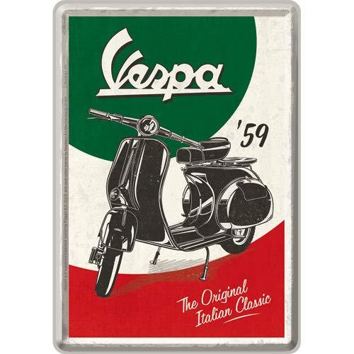 Nostalgic-Art Retro Grußkarte Vespa Italian Classic, Idea de Regalo para los Amantes de los Scooters, Postal, Mini Placa de Chapa de Estilo Vintage, 10 x 14 cm