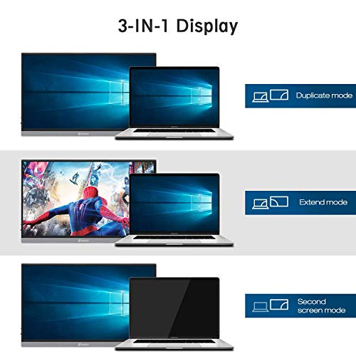 "Portable Monitor, CORPRIT Monitor USB-C Monitor, 15,6"" Tragbarer Monitor 1920X1080 IPS Gaming Monitor mit Type-C HDMI Anschlüsse für PC, Handy, Xbox, PS4, PS3, inkl.Schutzhülle"