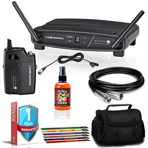 Audio-Technica ATW-1101/L System 10 Digital Wireless Lavalier Mic Set with XLR Cable, Case, Extra Warranty, and More