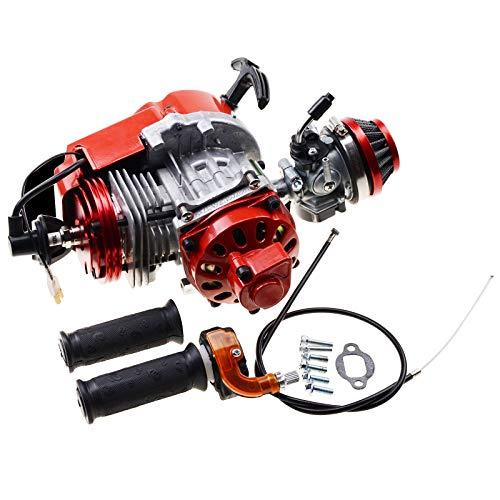 GOOFIT mejorado 49CC motor de 2 tiempos reemplazo para mini vehículo todoterreno DIY motor bicicleta de bolsillo gasolina G scooter ATV quad bike rojo