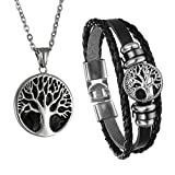 Cupimatch Men Tree of Life Symbol Pendant Necklace Leather Bracelet, Stainless Steel 22 inch Chian Jewelry Set (Black Tree)