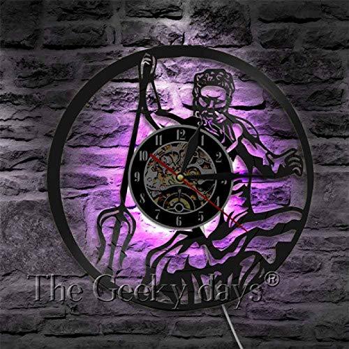 szhao Poseidon Griechische Mythologie Neptun Gott Silhouette Schatten Vinyl Schallplatte Wanduhr Mythos Griechenland Seegott Wanduhr Dekor