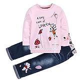 Conjuntos de Ropa Niña Otoño Invierno Anime Moderna, 1-5 años Bebe Camisetas Estampados de Dibujo Animados y Pantalones Vaqueros (2-3 años, Rosado)