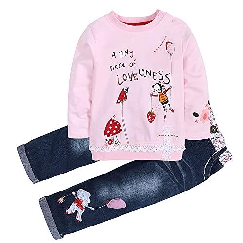 Conjuntos de Ropa Niña Otoño Invierno Anime Moderna, 1-5 años Bebe Camisetas Estampados de Dibujo Animados y Pantalones Vaqueros (3-4 años, Rosado)