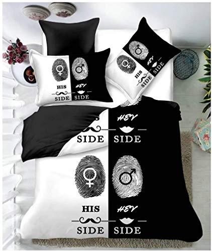 HDBUJ dekbedovertrek van zacht polyester, met digitale druk, paren in wit en zwart, beddengoed met ritssluiting, twee bijpassende kussenslopen
