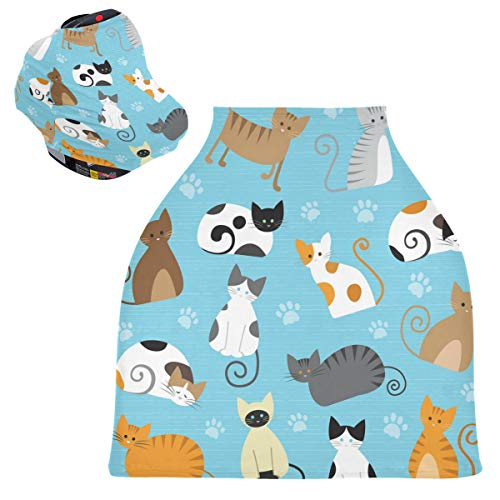 Sinestour Fundas para asiento de coche de bebé con diseño de gatos lindos – cubierta para lactancia y lactancia materna, toldo multiusos para bebés y niñas