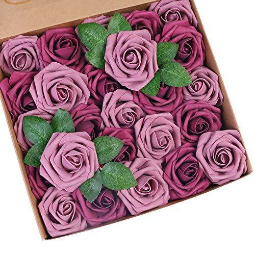 Roqueen 25 Piezas Flores Rosas Artificiales Espuma Rosa Falsa con Tallos para Boda Nupcial Ramos Centros de Mesa Preparativos Partido Hogar Decoración (Borgoña + Morado Claro)